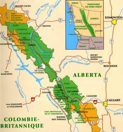 Carte Canada Les Rocheuses.Reportage Andre Tignon Free